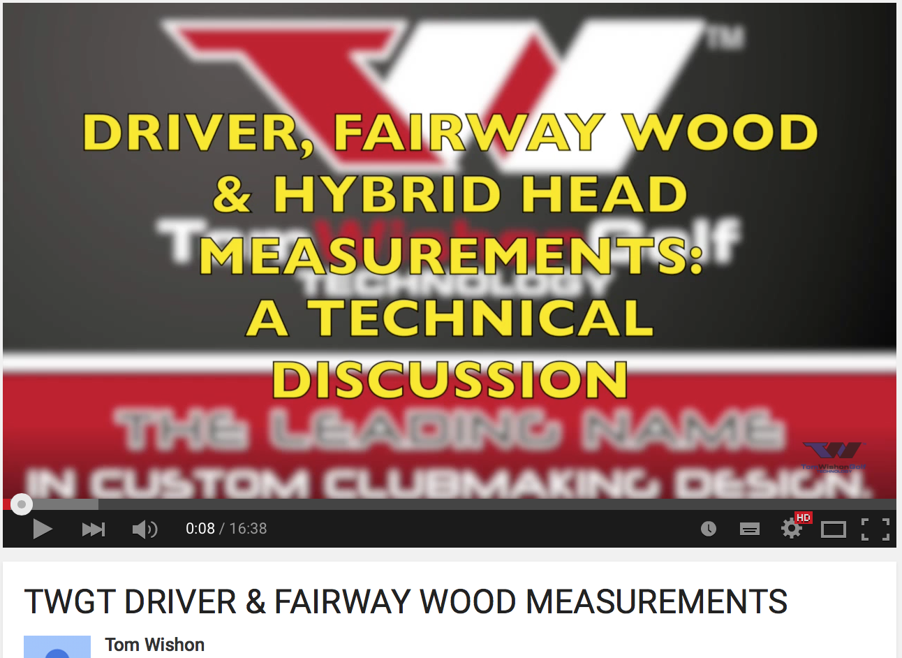 TWGT DRIVER & FAIRWAY WOOD MEASUREMENTS