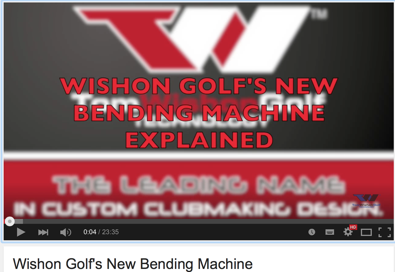 Wishon Golf's New Bending Machine